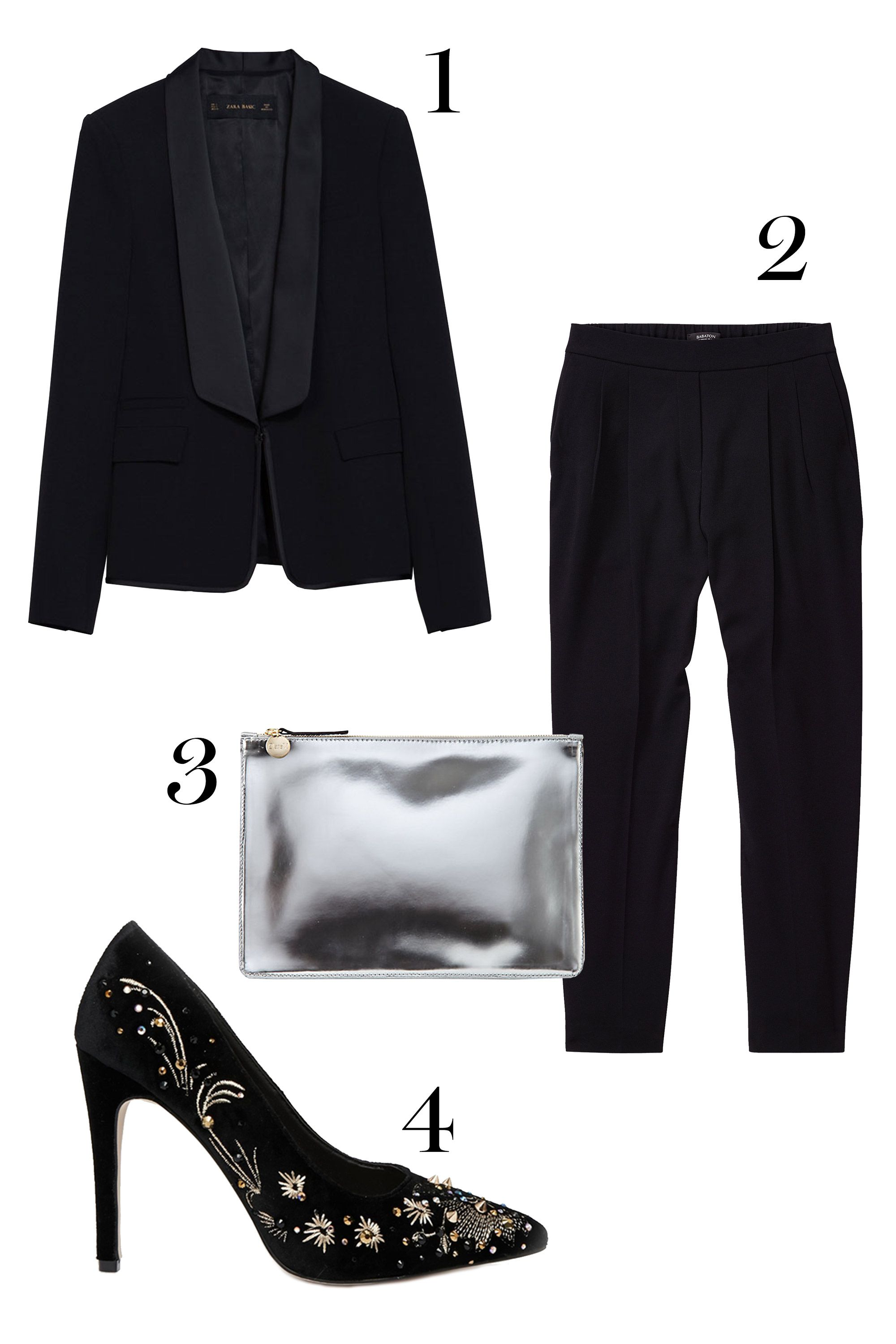 "1. Zara blazer, $129;<a href=""http://www.zara.com/us/en/woman/blazers/blazer-with-combined-lapel-c269184p2431541.html""> zara.com.</a>  2. Aritzia pants, $145; <a href=""http:// http://us.aritzia.com/product/cohen-pant/43443.html?dwvar_43443_color=1274#start=2"">aritzia.com.</a>   3. Clare Vivier clutch, $198; <a href=""http://www.stevenalan.com/F14_NA_F14_CL10010.html?dwvar_F14__NA__F14__CL10010_color=040#cgid=womens-shoes-and-accessories-bags-slgs&start=24&sz=12&frmt=ajax&start=24&hitcount=72"">stevenalan.com.</a>  4. Asos heels, $113.70; <a href=""http://www.asos.com/ASOS/ASOS-PARTY-ALL-NIGHT-High-Heels/Prod/pgeproduct.aspx?iid=4349336&cid=4172&Rf989=5020&sh=0&pge=3&pgesize=36&sort=-1&clr=Black&totalstyles=330&gridsize=3"">asos.com.</a>"