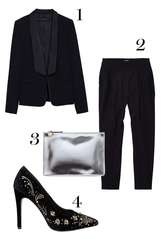 "1.Zara blazer, $129;<a href=""http://www.zara.com/us/en/woman/blazers/blazer-with-combined-lapel-c269184p2431541.html""> zara.com.</a>  2.Aritzia pants, $145; <a href=""http:// http://us.aritzia.com/product/cohen-pant/43443.html?dwvar_43443_color=1274#start=2"">aritzia.com.</a>   3. Clare Vivier clutch, $198;<a href=""http://www.stevenalan.com/F14_NA_F14_CL10010.html?dwvar_F14__NA__F14__CL10010_color=040#cgid=womens-shoes-and-accessories-bags-slgs&start=24&sz=12&frmt=ajax&start=24&hitcount=72"">stevenalan.com.</a>  4. Asos heels, $113.70; <a href=""http://www.asos.com/ASOS/ASOS-PARTY-ALL-NIGHT-High-Heels/Prod/pgeproduct.aspx?iid=4349336&cid=4172&Rf989=5020&sh=0&pge=3&pgesize=36&sort=-1&clr=Black&totalstyles=330&gridsize=3"">asos.com.</a>"