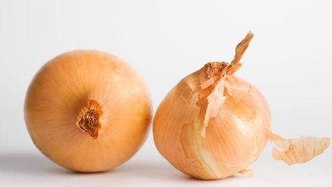 Although they may not be the ideal pre-date snack, the notoriously bad-for-breath alliums could be beneficial to teeth. Because they're colorless, they won't cause surface stains, says Dr. Messina, adding that after eating them, you're more likely to brush—which is a surefire way to get whiter teeth.