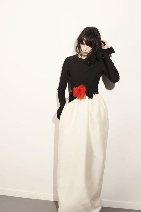 Clothing, Sleeve, Shoulder, Dress, Standing, Formal wear, Gown, One-piece garment, Waist, Wedding dress,