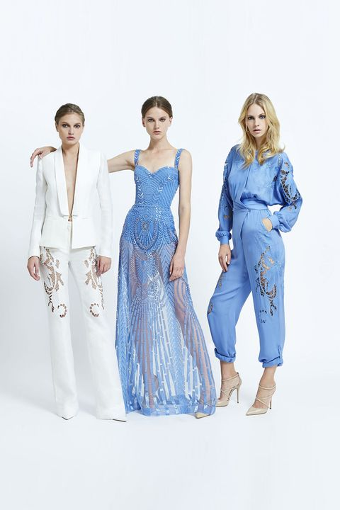 Clothing, Blue, Sleeve, Shoulder, Textile, Standing, One-piece garment, Formal wear, Style, Waist,