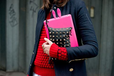 Clothing, Sleeve, Textile, Pattern, Outerwear, Red, Bag, Style, Street fashion, Fashion,