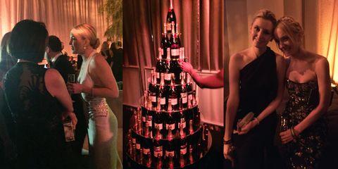 Dress, Party, Drink, Strapless dress, Distilled beverage, Wedding ceremony supply, Alcoholic beverage, Cocktail dress, Bottle, Cake,
