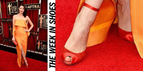 Red, Orange, Joint, Style, Dress, Carmine, Fashion, High heels, Waist, Foot,