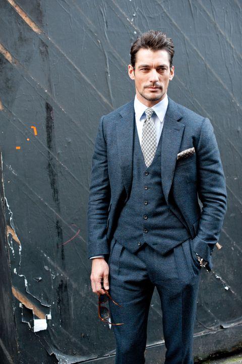 Clothing, Coat, Dress shirt, Collar, Trousers, Shirt, Pocket, Standing, Outerwear, Formal wear,