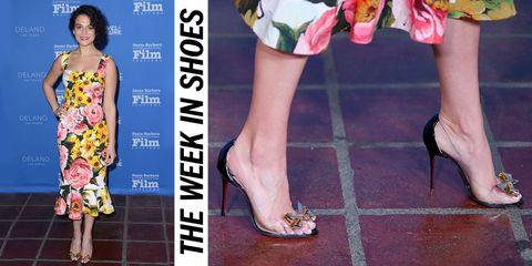 Footwear, Leg, Human, Yellow, Human leg, Toe, Joint, Dress, Pink, Style,