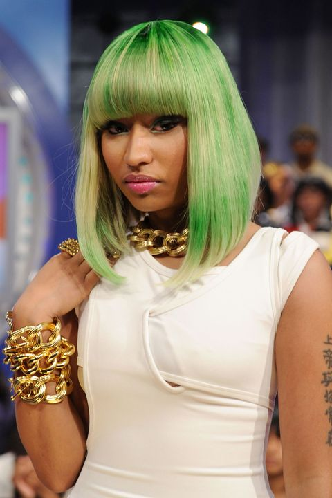 No one dictates this rapper's fearless style, and this bright green dye job is proof. Is it pixelated? Or watercolored? Whatever the method, the look has earned her a place amongst the most iconic of hair hue visionaries.