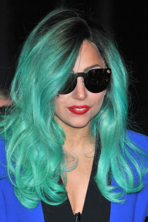 Ms. <em>Poker Face</em>'s hair is just another outlet for the pop star's eccentric style. Never the conformist, she paired sea-foam green strands with black roots in her take on the pastel trend.