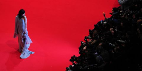 Red, Fashion, Carmine, Audience, Fashion design, Scene, Costume design,