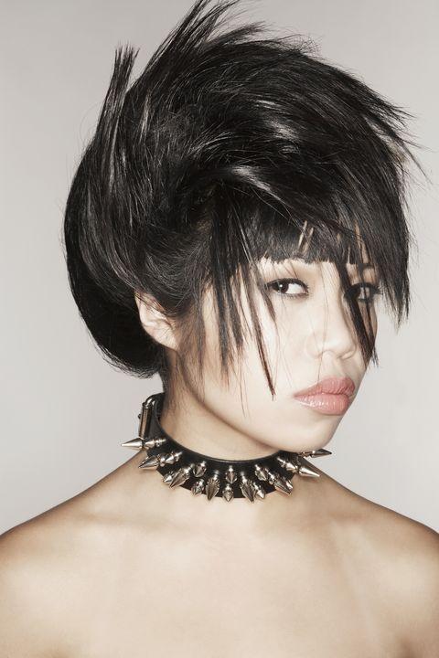 Lip, Hairstyle, Skin, Chin, Shoulder, Eyebrow, Eyelash, Style, Bangs, Black hair,