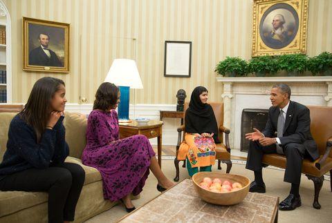 The Obamas with Malala
