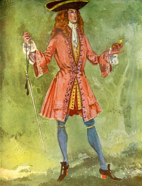 Man 's costume in reign of Anne I (1702 -1714).  Wearing a frock coat with long waistcoat, cravat and stockings.  Shoes have red heels, a tricorne hat is worn and snuff is held in the left hand.  Illustrated and written by Dion Clayton Calthrop,  1875 - 1937 (1907).  (Photo by Culture Club/Getty Images)