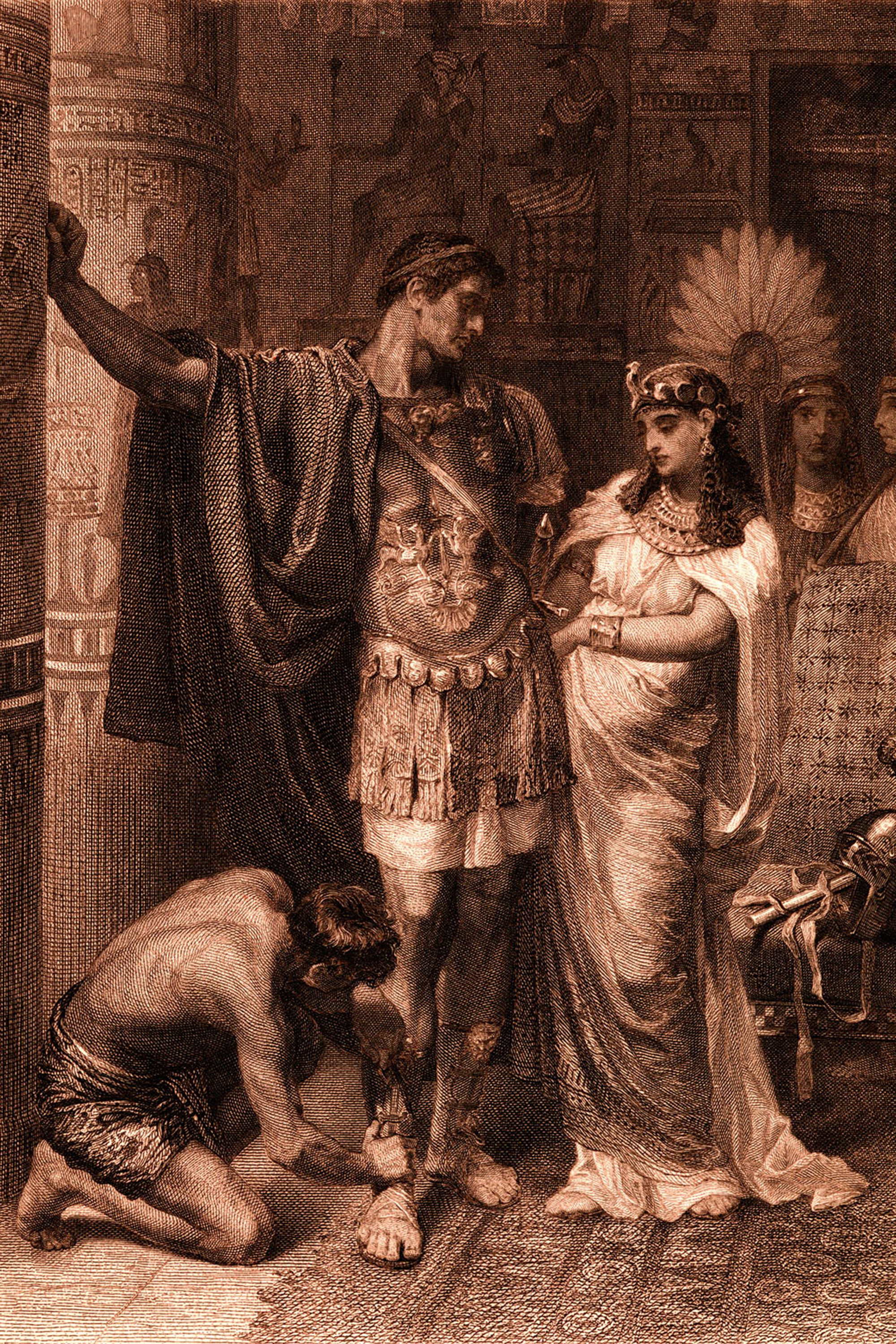 William Shakespeare 's play 'Antony and Cleopatra' (Act III, Scene 11). 'Antony: 'Fall not a tear,  I say; one of them rates. All that is won and lost: give me a kiss;   Even this repays me.'  Painted by Frank Dicksee, engraved by G. Goldberg. WS:l. English poet and playwright baptised 26 April 1564 – 23 April 1616.  (Photo by Culture Club/Getty Images)