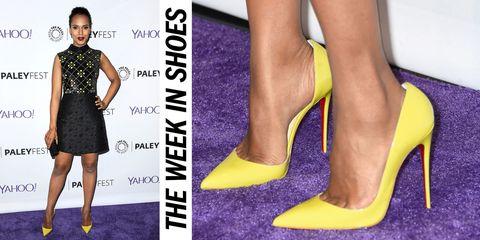 Clothing, Yellow, Dress, Joint, Style, Formal wear, Waist, Purple, Fashion, Day dress,
