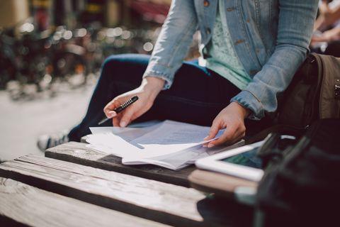 Jacket, Denim, Street fashion, Blazer, Pocket, Bag, Writing implement, Office supplies, Nail, Publication,