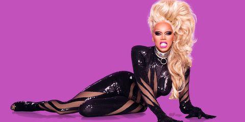 Hairstyle, Pink, Purple, Latex, Costume accessory, Magenta, Violet, Knee, Blond, Eyelash,