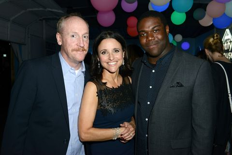 AUSTIN, TX - MARCH 16: (L-R) Matt Walsh, Julia Louis-Dreyfus and Sam Richardson attend Marie Claire Celebrates HBO's VEEP With Dinner Hosted By Spotify on March 16, 2015 in Austin, Texas. (Photo by Alli Harvey/Getty Images for Spotify)