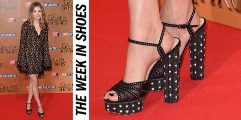 Footwear, Dress, Pattern, Joint, Red, Style, Pink, One-piece garment, High heels, Font,