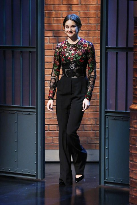 LATE NIGHT WITH SETH MEYERS -- Episode 0177 -- Pictured: Actress Shailene Woodley arrives on March 17, 2015 -- (Photo by: Lloyd Bishop/NBC/NBCU Photo Bank via Getty Images)