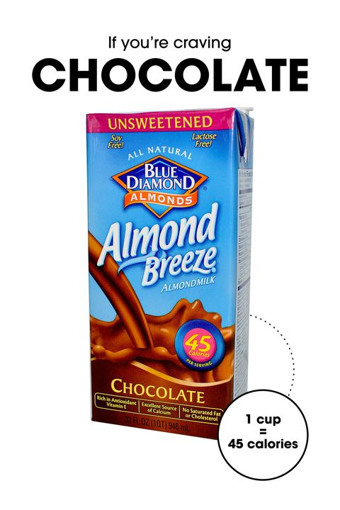 "Okay, no, it's not the same thing as a square of the good stuff. But isn't there kind of a delicious, after-school novelty to downing a refreshing glass of chocolate milk? Just make sure you make it almond: ""With more calcium than cow's milk, and only two grams of carbs, this is a chocolate drink you can enjoy with no calorie guilt,"" says James. ""Warm it up and add a cinnamon stick for some extra zest—plus, the cinnamon helps to decrease the appetite."""