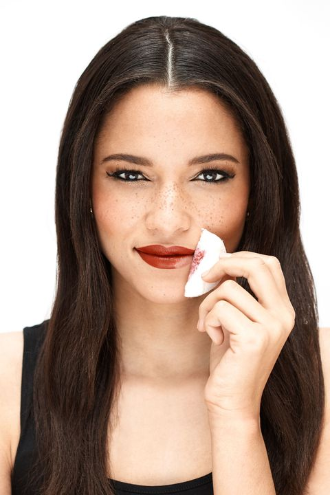 Removing matte red lipstick (long wear formulation, natch), used to be quite a daunting task. Not anymore—no elbow grease required!  <strong>The RIGHT Way:</strong> Dampen a cotton pad with Micellar Cleansing Water and fold it in half. Press it onto the lower left corner of your mouth, and slowly swipe the pad across your bottom lip to erase <em>every</em> trace of color with ease.