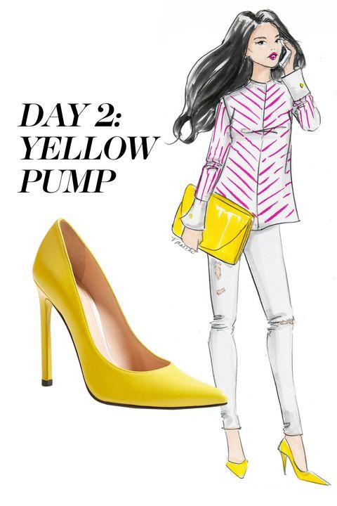 Footwear, Yellow, High heels, Sleeve, Joint, Style, Bag, Fashion, Knee, Tan,