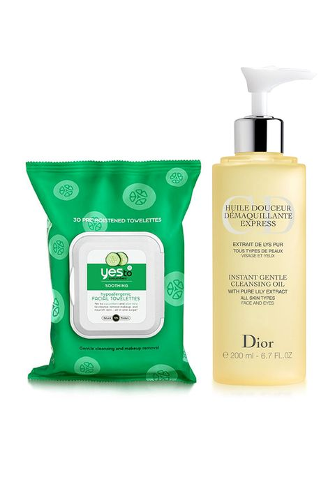 "First thing's first: Prep your skin by wiping away makeup, excess sebum and everything in between with a deep cleansing towelette. Follow up with a light oil cleanser that'll hydrate without leaving residue behind.  <em>Yes to Cucumbers Face Cleanser Towelettes, $5.69; <a target=""_blank"" href=""http://www.target.com/p/yes-to-cucumbers-face-cleanser-towelettes-30ct/-/A-12196303"">target.com</a>; Dior Instant Gentle Cleansing Oil, $38; <a target=""_blank"" href=""http://www.sephora.com/instant-gentle-cleansing-oil-P379821"">sephora.com</a></em>"