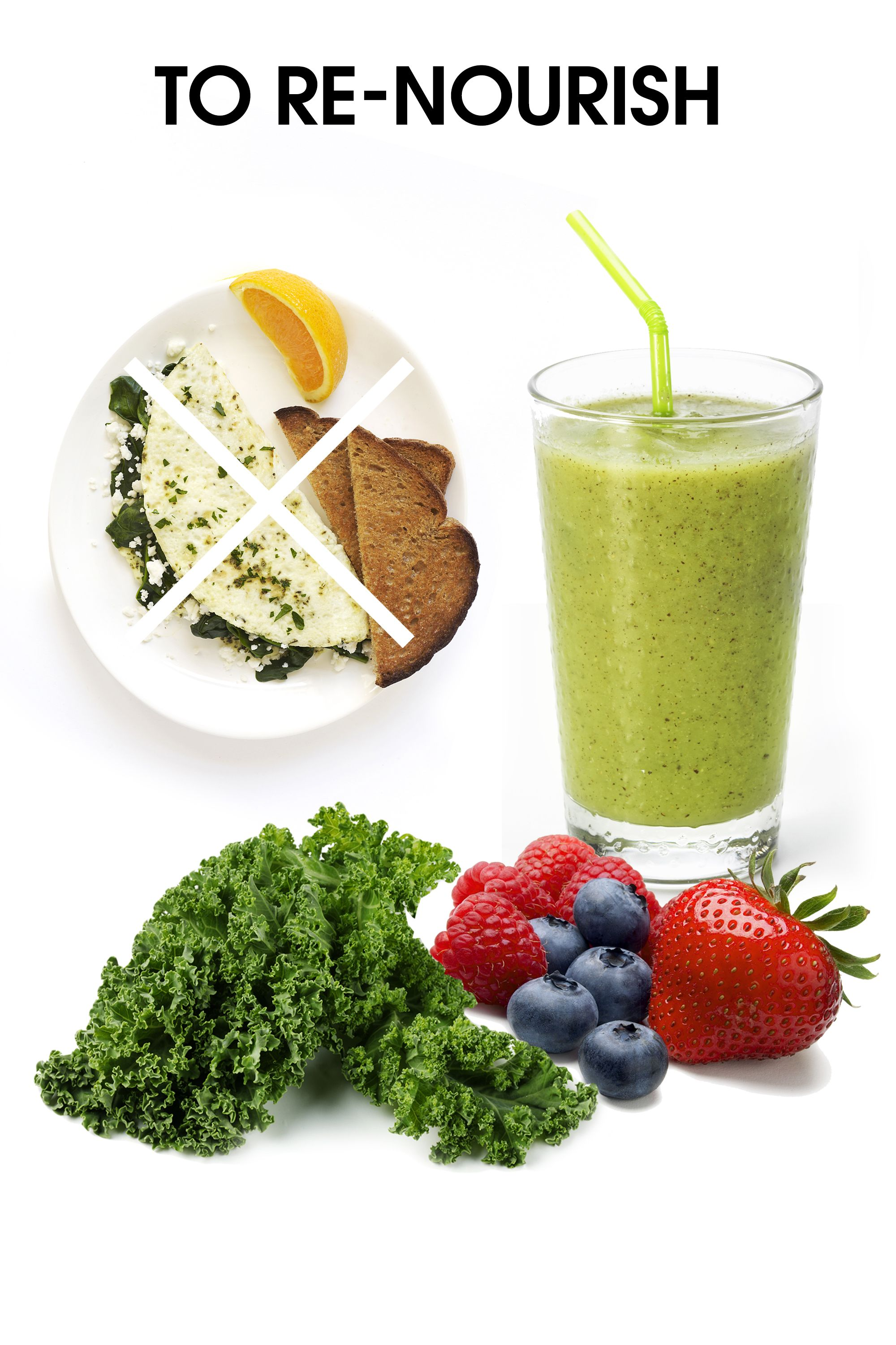 """<strong>Knock back a smoothie: </strong>""""This is very different from a green juice, which has had the fiber stripped out. In contrast, a smoothie made with fresh fruit and vegetables is a whole food, with the fiber and juice intact—the way that nature grew them. It will supply you with tons of antioxidants, vitamins, minerals, fiber, and amino acids to build protein in the body (yes, greens have lots of protein, if you eat enough of them in a blended form!). The fiber content also keeps things moving through your body.""""  <strong>Pass on the omelet: </strong> """"I am not a big advocate of having heavy amounts of fat or protein in the morning. Such foods may make you feel full (such as egg white omelets), but they also take a huge amount of digestive energy, and you may find yourself reaching for more energy from caffeinated beverages by mid-morning. So think fiber for movement and fullness over super heavy fat/protein. Of course, we all need fat and some concentrated protein, but these things can come later in the day."""""""