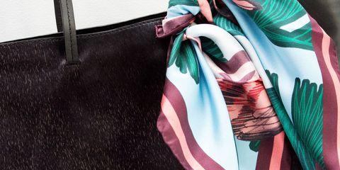 Textile, Pink, Bag, Magenta, Shoulder bag, Teal, Leather, Fashion design, Natural material, Feather,