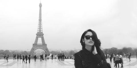 Eyewear, Vision care, People, Tourism, Sunglasses, Tower, Photograph, Standing, White, Atmospheric phenomenon,