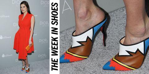 Footwear, Dress, Joint, Style, One-piece garment, Orange, Fashion, Foot, Day dress, Toe,