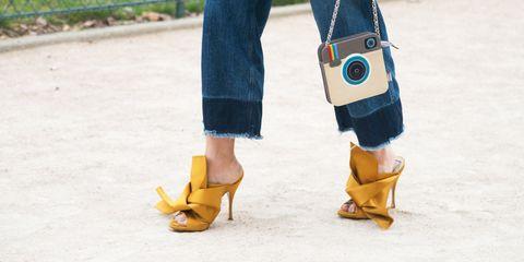 Blue, Yellow, Human leg, Textile, Joint, Street fashion, Fashion, Tan, High heels, Electric blue,