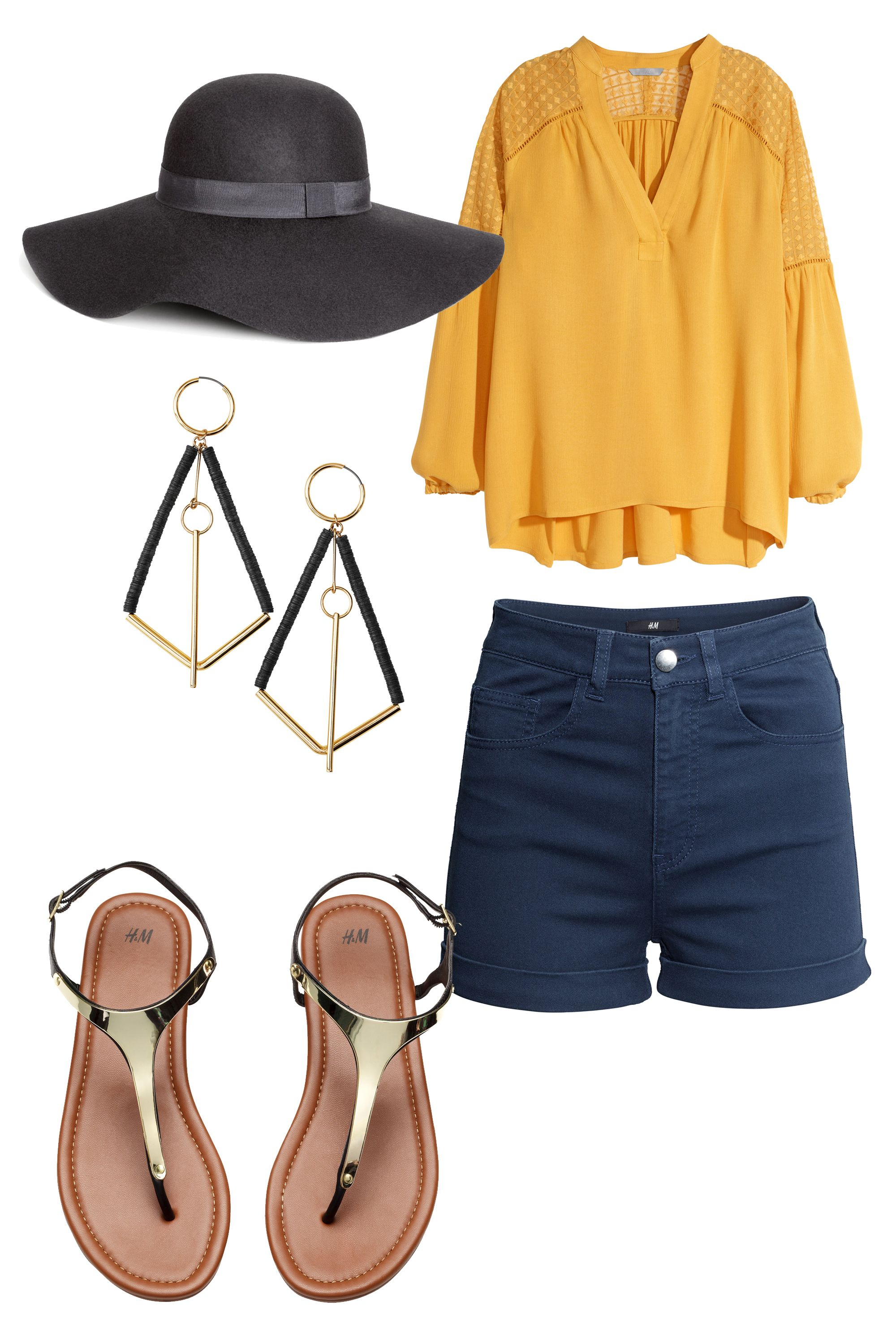 "Run around town in a bright statement top and comfy shorts without risking sunburn. This 100%-wool sun hat will keep spring's UV rays at bay and top off a tres chic look. <em></em>  <em>Shorts; <a target=""_blank"" href=""http://www.hm.com/us/subdepartment/LADIES?Nr=4294960292#page=0&Nr=4294960292"">hm.com</a>; V-neck Blouse, $34.95; <a target=""_blank"" href=""http://www.hm.com/us/product/91288?article=91288-A"">hm.com</a>; Sandals; <a target=""_blank"" href=""http://www.hm.com/us/subdepartment/LADIES?Nr=4294966587#Nr=4294844997"">hm.com</a>; Earrings; <a target=""_blank"" href=""http://www.hm.com/us/subdepartment/LADIES?Nr=4294966587#Nr=4294898441"">hm.com</a>; Wool Hat, $24.95; </em><a target=""_blank"" href=""http://www.hm.com/us/product/87911?article=87911-A""><em>hm.com</em></a>"