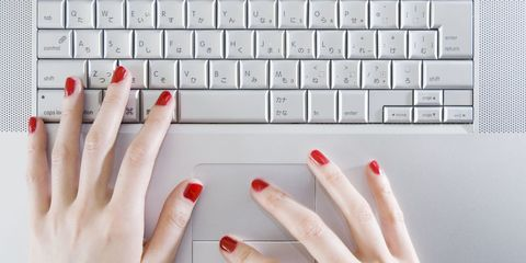 Finger, Skin, Red, Nail, Nail care, Text, Office equipment, Nail polish, White, Electronic device,