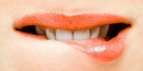 Lip, Skin, Eyelash, Tooth, Orange, Organ, Tints and shades, Photography, Close-up, Material property,