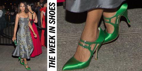 Footwear, Green, Joint, Dress, High heels, Strapless dress, Style, Fashion, Waist, One-piece garment,