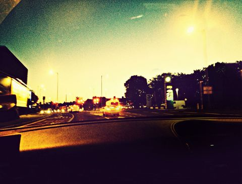 Road, Infrastructure, Asphalt, Road surface, Amber, Tints and shades, Thoroughfare, Lane, Windshield, Tar,