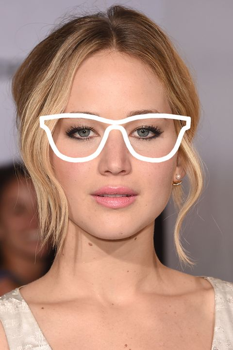 JLaw has a round/oval face, giving her plenty of options when it comes to frame shape.