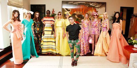 Textile, Fashion, Costume, Tradition, Costume design, Peach, Stage, Fashion design, Makeover, Ceremony,