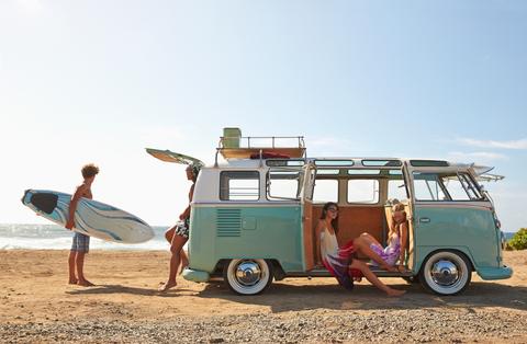 Wheel, Mode of transport, Surfboard, Leisure, Automotive exterior, Summer, Surfing Equipment, Tourism, Vacation, Van,