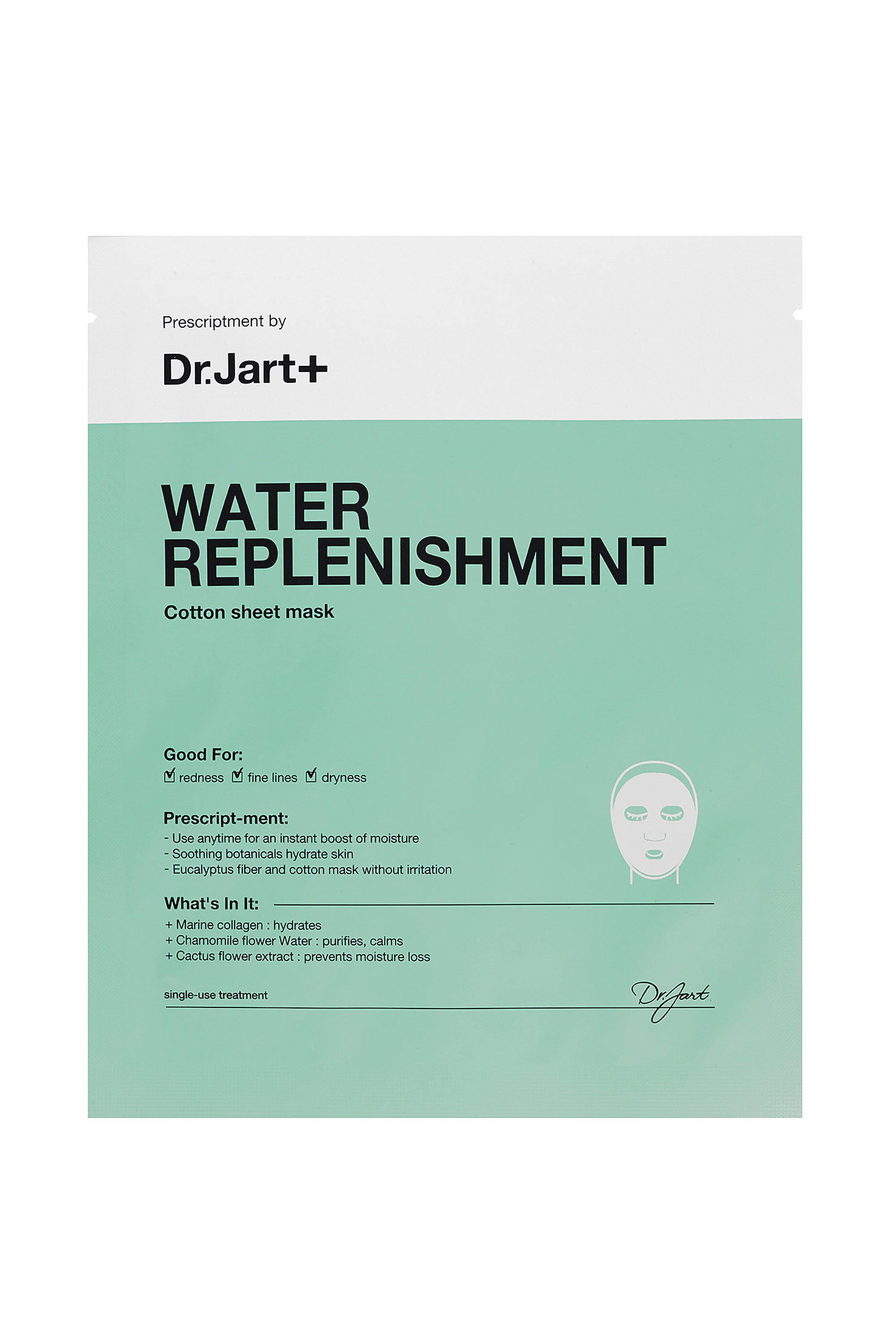 Dr. Jart+ Water Replenishment Cotton Sheet Mask Dr. Jart+ Water Replenishment Cotton Sheet Mask, $8 SHOP IT Ultra-moisturizing ingredients like allantoin and witch hazel will keep your mug feeling fresher longer, plus the bio-cellulose sheet gives off a cooling sensation. *Ahh*