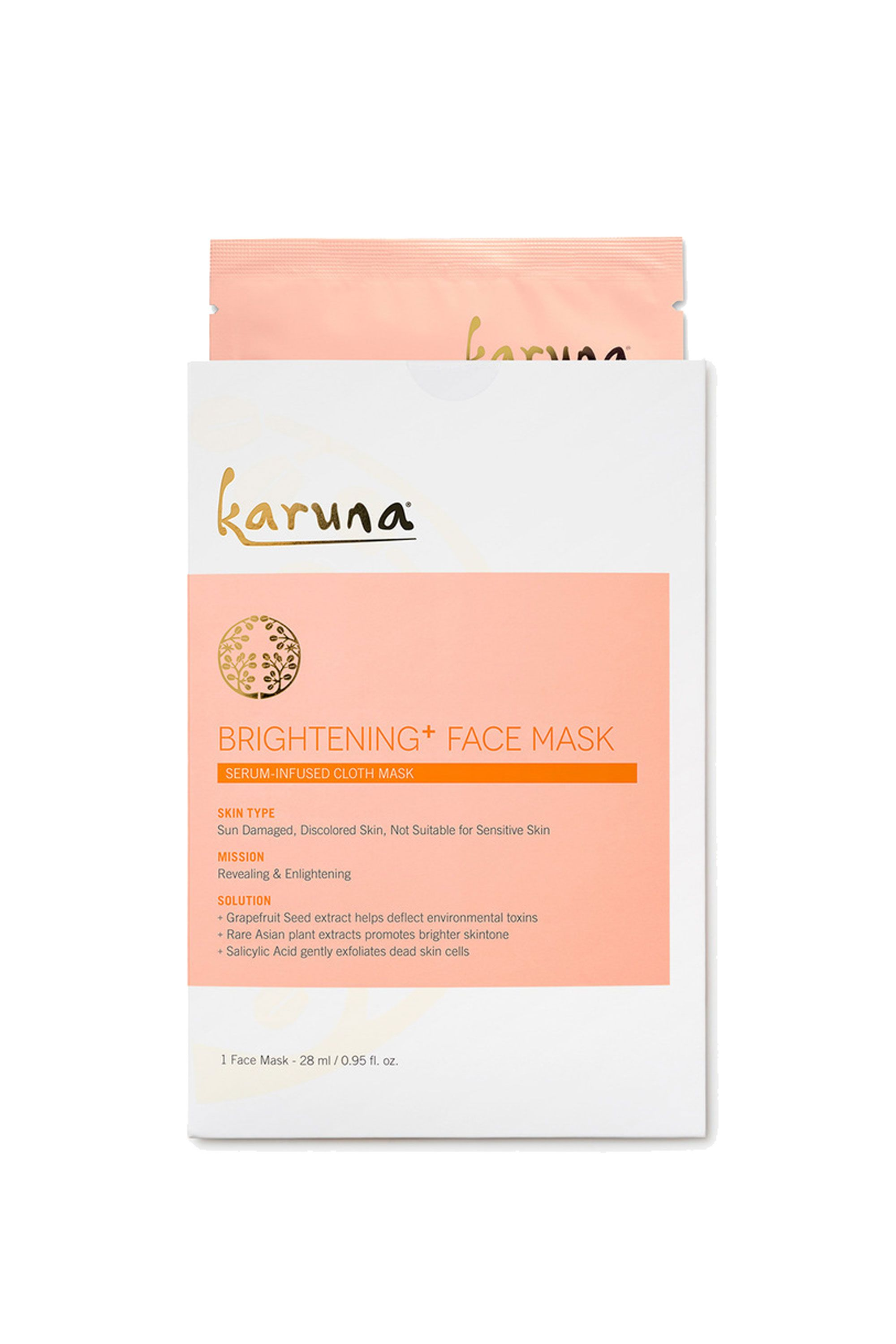 Karuna Brigtening+ Face Mask Single Karuna Brigtening+ Face Mask Single, $8 SHOP IT Between the natural wood pulp cloth and deep-penetrating serum (containing grapefruit seed extract, rare Asian plant extracts, and salicylic acid), this mask will help banish age spots for good.
