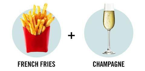 Yellow, Stemware, Drinkware, Wine glass, Glass, Drink, Barware, Fried food, Cocktail, French fries,