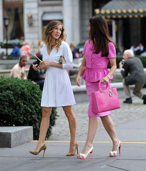 Clothing, Photograph, Outerwear, Human leg, Bag, Dress, Pink, Style, Fashion accessory, Street fashion,