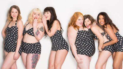 Clothing, Hair, Leg, Fun, Social group, Waist, Thigh, Trunk, Abdomen, Beauty,
