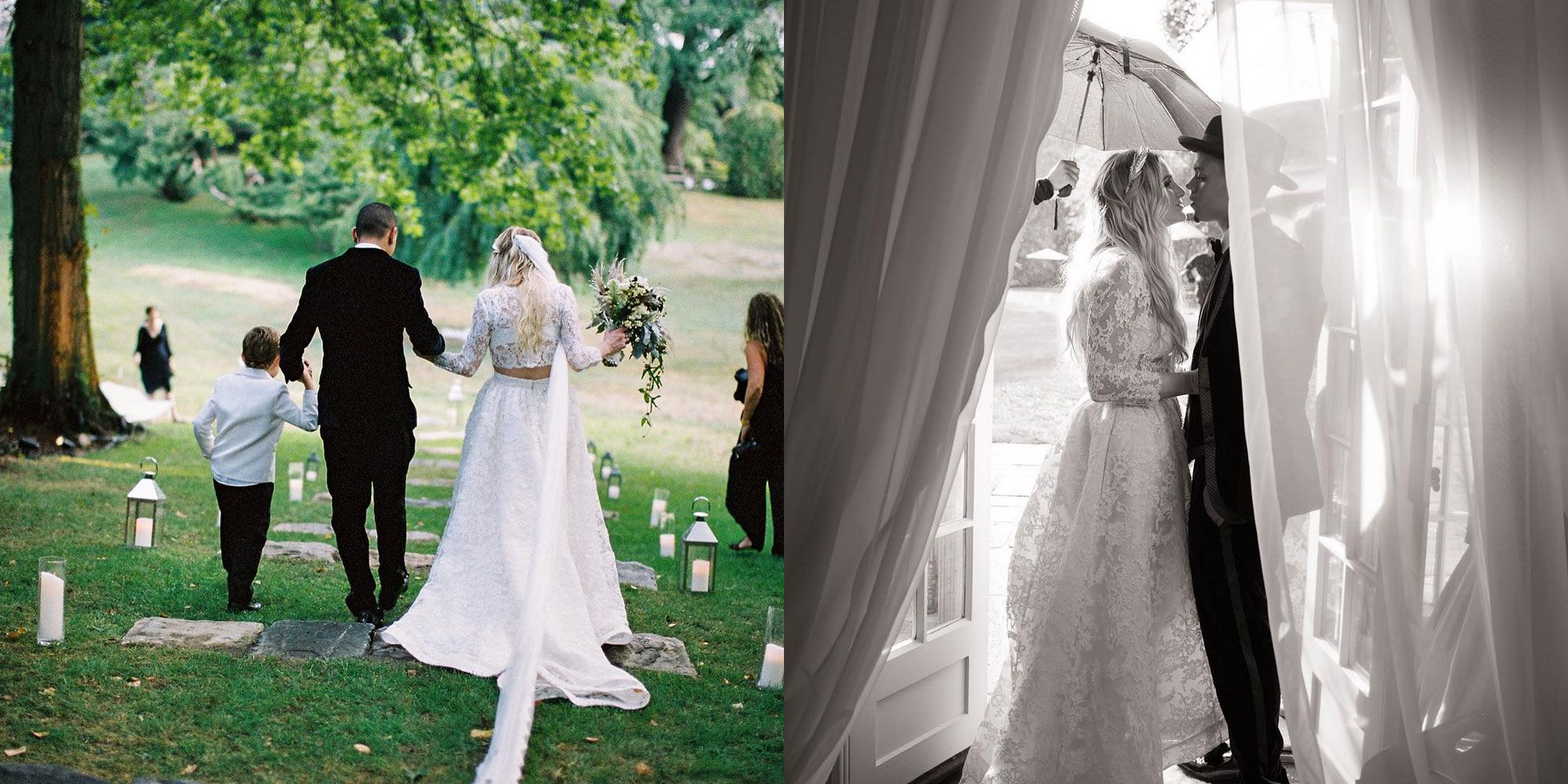 <p>In a Houghton Bride crop top, bralette, and lace skirt.<span></span></p>