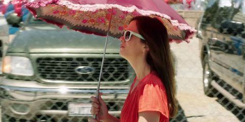 Eyewear, Lip, Umbrella, Grille, Headgear, Beauty, Travel, Temple, Street fashion, Sunglasses,