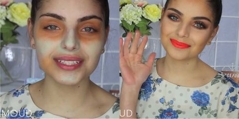 "<p>It's all about complementary colors—or using total opposite shades. If you have a red pimple, use a green concealer tone down the redness. For example, moisturize your skin first and use a green and orange concealer palette to correct an uneven skin tone. Then apply foundation and concealer in your color all over in a patting motion. Finish with your typical makeup routine. </p><p>To see the full story on this technique, <a href=""http://www.marieclaire.com/beauty/a15269/green-orange-concealer-trick/"" target=""_blank"">click here</a>.</p>"