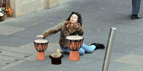 Drum, Membranophone, Musical instrument, Djembe, Hand drum, Percussion, Snapshot, Street performance, Idiophone, Folk instrument,