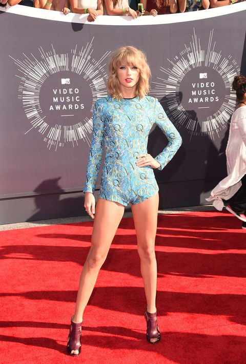 <p>At the 2014 VMAs, Swift decided to let her lengthy stems shine in this embroidered Mary Katrantzou onsie.</p>